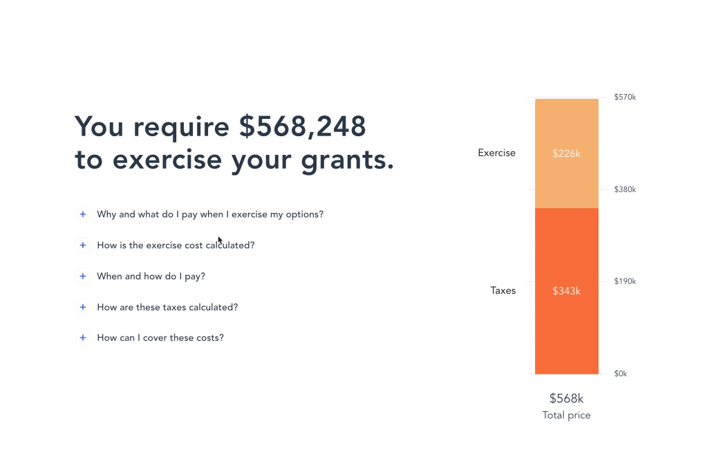 See the cost of exercising your grants